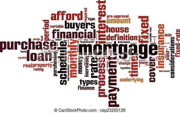 Nube de palabra de hipoteca - csp23255128
