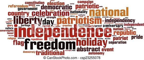 Nube de palabra de independencia - csp23255078