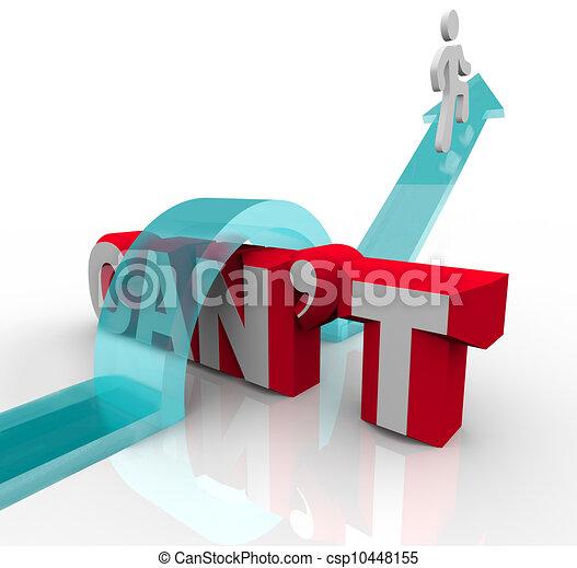 La persona que sube sobre la palabra no puede lograr el éxito del gol - csp10448155