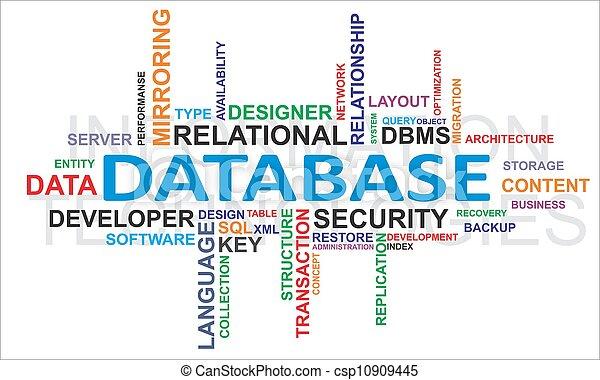 palabra, -, nube, base de datos - csp10909445