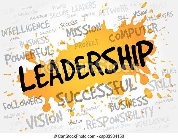 Nube de palabra de liderazgo - csp33334150