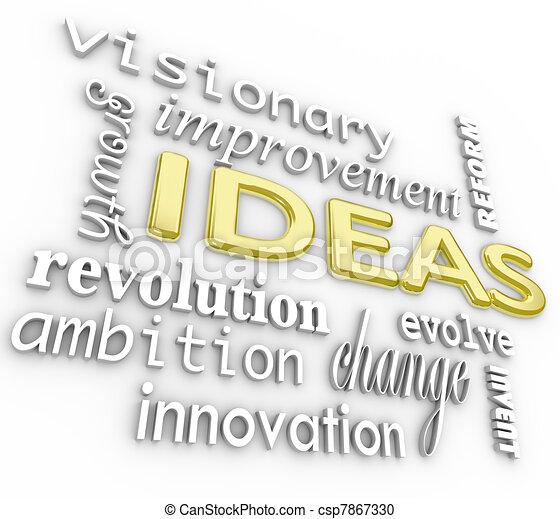 palabra, plano de fondo, -, ideas, palabras, innovación, visión, 3d - csp7867330