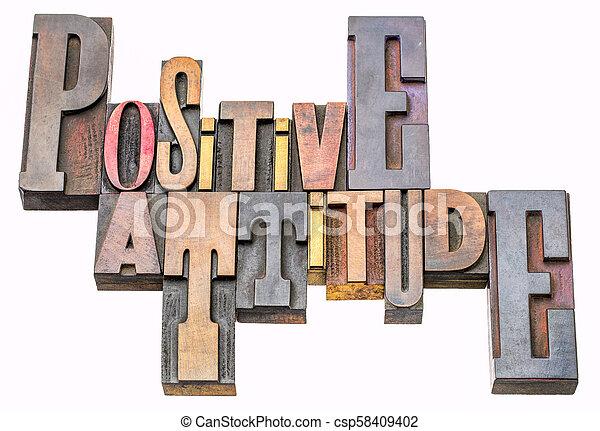 Palabra de actitud positiva abstracta en el tipo de madera - csp58409402