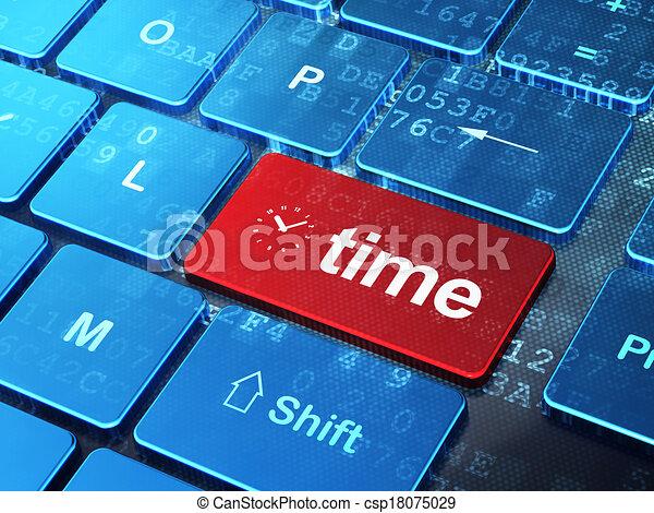 El concepto de la línea de tiempo: teclado de computadora con icono de reloj y palabra Tiempo de entrar en el fondo del botón, versión 3D - csp18075029