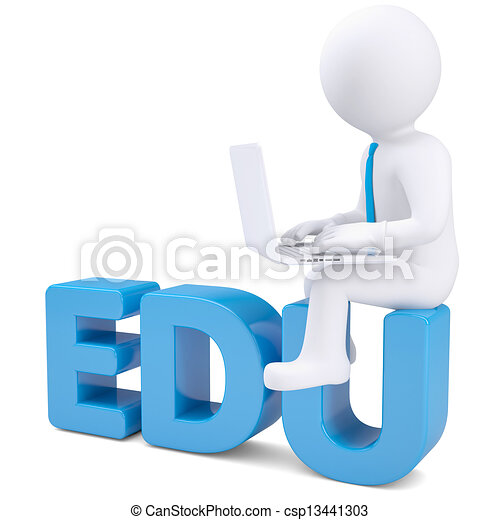 Hombre blanco con portátil sentado en la palabra EDU - csp13441303