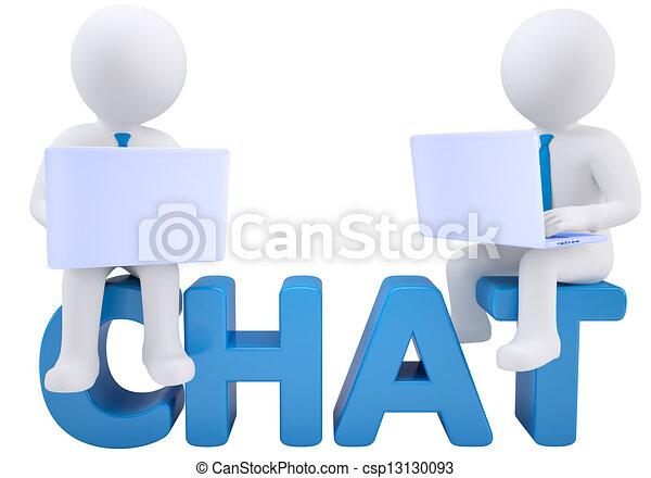 Hombre de 3D sentado con un portátil en la palabra chat - csp13130093