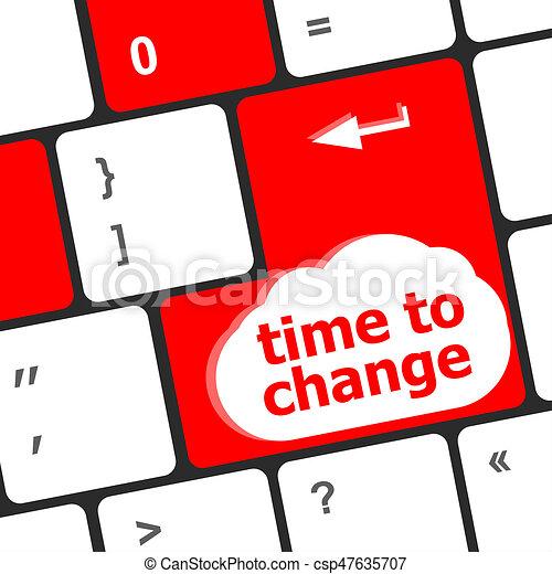 El concepto del tiempo: palabra de teclado de computadora Tiempo de cambiar - csp47635707