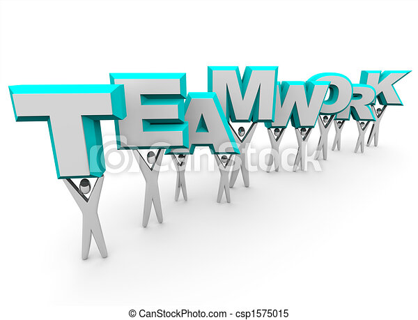 Equipo levantando la palabra trabajo en equipo - csp1575015