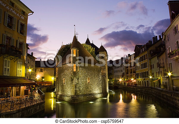 Palace of Isle ( Palais d'Isle ) by night at Annecy - csp5759547