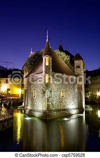 Palace of Isle ( Palais d'Isle ) by night at Annecy - csp5759528