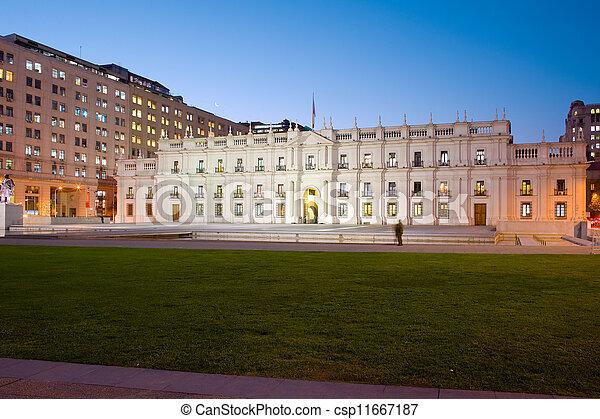 "Palacio de la Moneda, ""La Moneda"", Chile's presidential and government palace, designed on Neoclassical style by architect Joaquin Toesca, downtown civic center, Santiago, Chile, South America - csp11667187"
