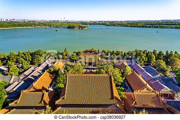 Lago Kunming visto desde el palacio de verano - beijing - csp38036927