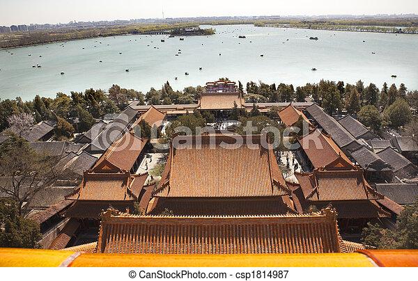 Lago Kunming de Longevity Hill Palacio de Verano China - csp1814987