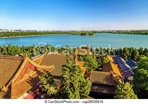 Lago Kunming visto desde el palacio de verano - beijing - csp38036916