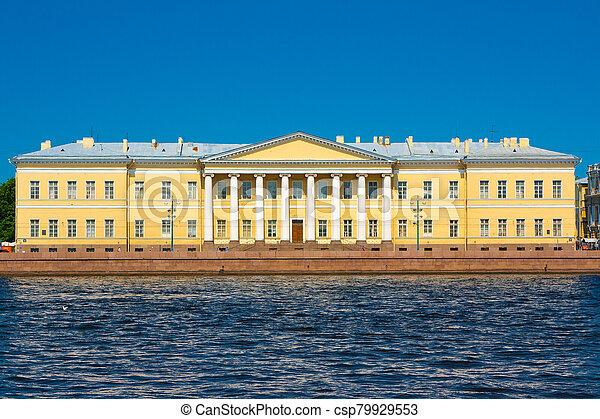 palacio, embankment., inglés, menshikov, vista, staint, petersburg - csp79929553