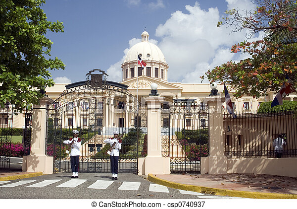 palacio nacional the national palace santo domingo dominican republic beautiful government building with guards and firearms guns uniforms - csp0740937