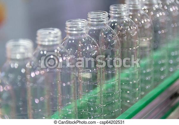 palack, kézbesítő, process., műanyag, víz, factory., új, ivás, gyári, öv - csp64202531