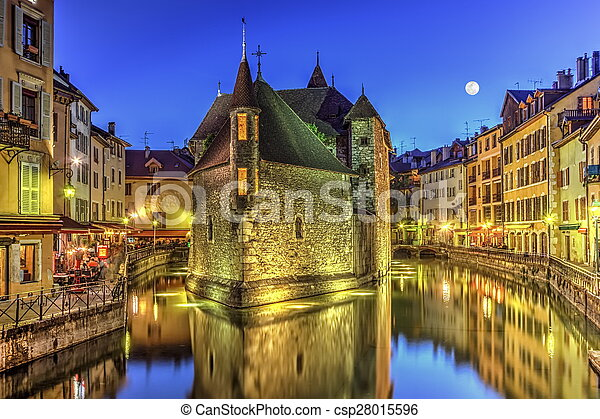 Palais de l'Ile jail and canal in Annecy old city, France, HDR - csp28015596