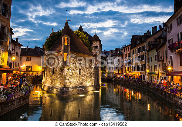 Palais de l'isle by night in Annecy - France - csp15419582