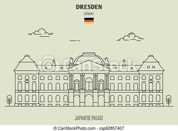 palais, dresde, germany., repère, japonaise, icône - csp62857407