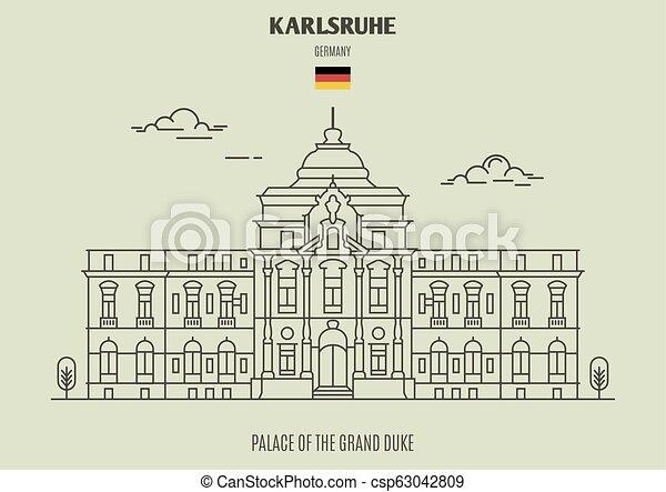 palais, duc, germany., karlsruhe, repère, grandiose, icône - csp63042809