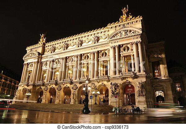Palais or Opera Garnier & The National Academy of Music in Paris, France - csp9336173