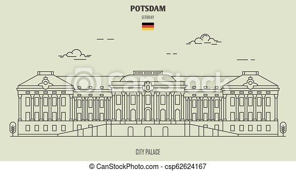 palais, potsdam, germany., repère, ville, icône - csp62624167