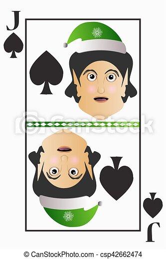 Vector elfo fácil Navidad Jack jugando a las cartas con palas en un fondo blanco editable - csp42662474