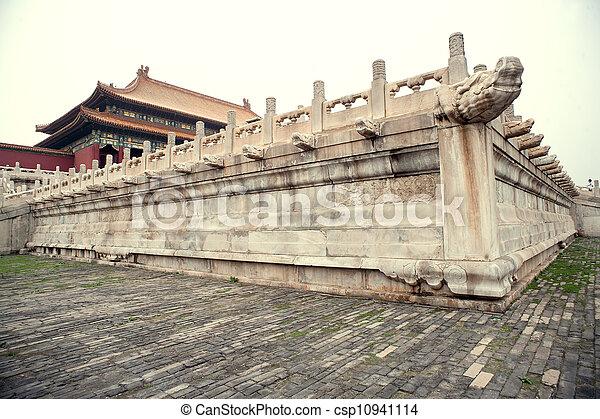 palastartig, architektur, chinesisches  - csp10941114