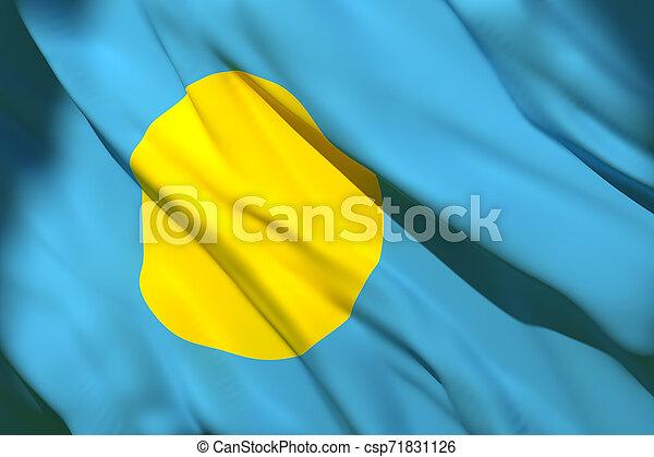 Palau flag waving - csp71831126