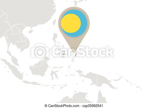 Palau On World Map Map With Highlighted Palau Map And Flag