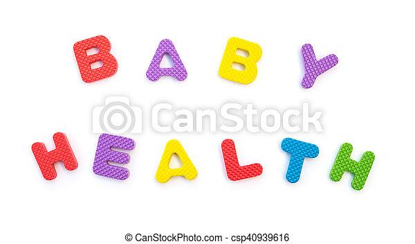 palavra, dado forma, alfabeto, quebra-cabeças, saúde, bebê, branca - csp40939616