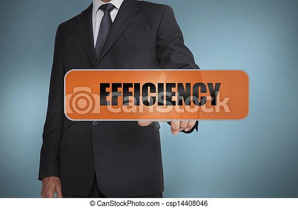 palavra, eficiência, tocar, homem negócios - csp14408046