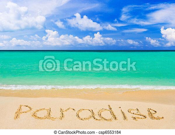 palavra, praia, paraisos  - csp6553184