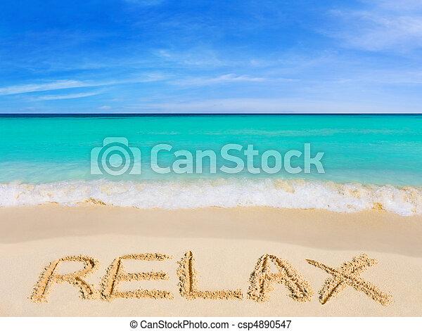 palavra, praia, relaxe - csp4890547
