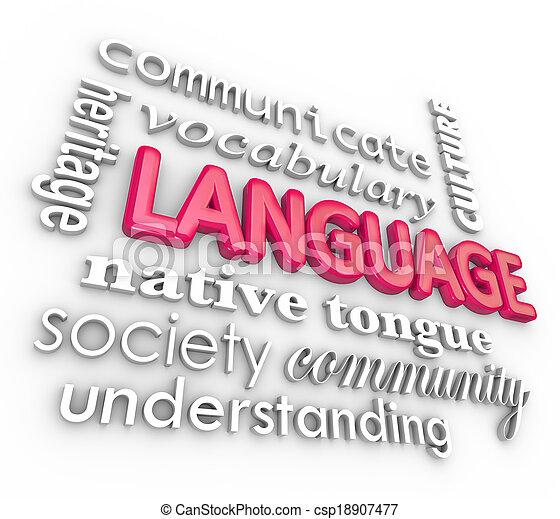 palavras, língua, colagem, comunicação, entendendo, aprendizagem, 3d - csp18907477
