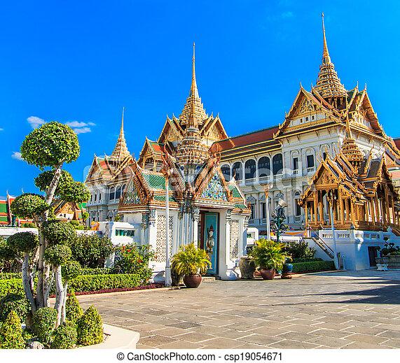 palazzo, phra, grande, reale, tailandia, kaeo, asia, bangkok - csp19054671