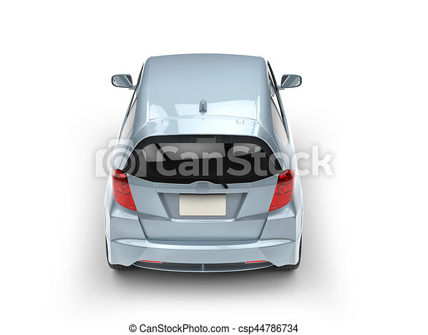 Car Back Top View >> Pale Blue Metallic Modern Compact Car Top Back View