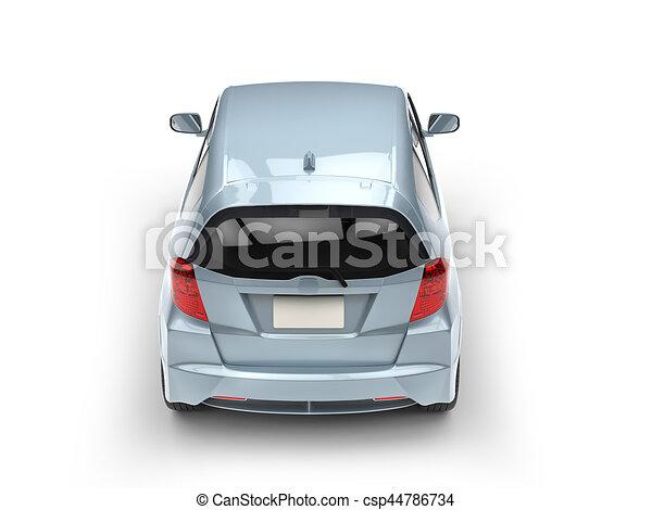 Pale blue metallic modern compact car - top back view - csp44786734
