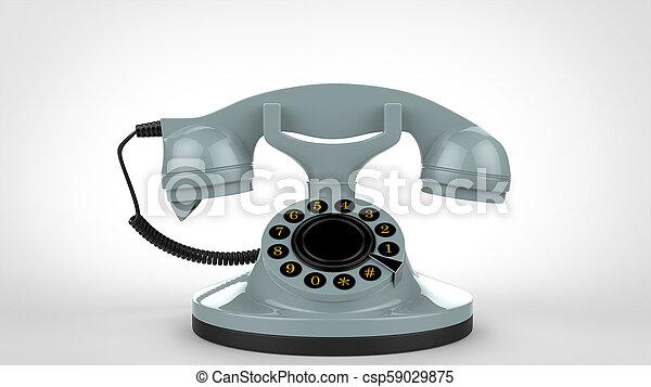 Pale blue vintage telephone - 3D Illustration - csp59029875