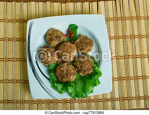 paleo, polpette carne, salisbury, bistecca - csp77913984