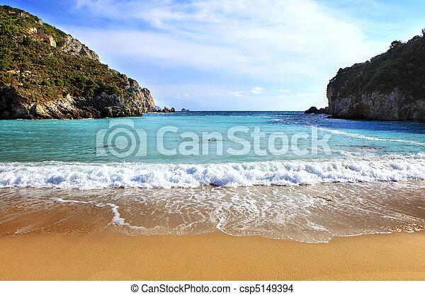 paleokastritsa, horisontal, strand, corfu - csp5149394