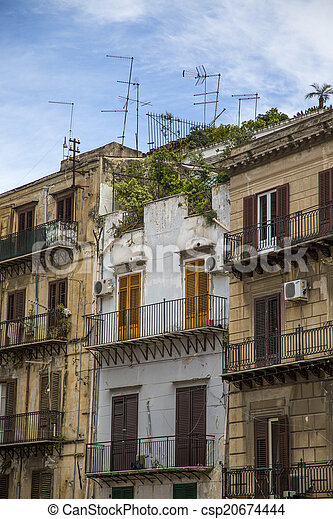Palermo houses. Traditional houses in palermo, sicily, italy.