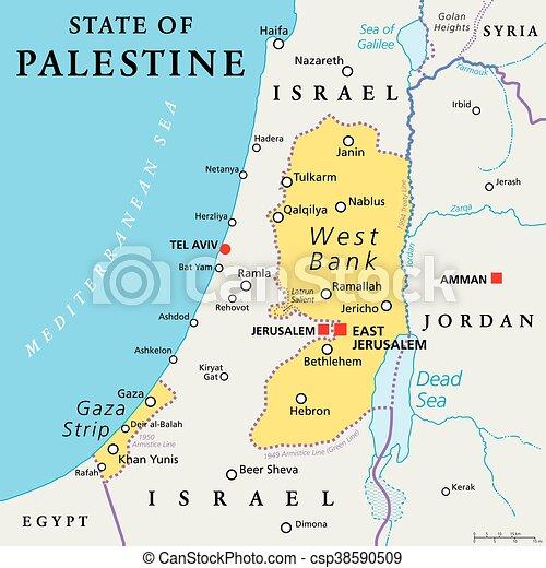 Israele Palestina Cartina.Palestina Mappa Stato Politico Places Gerusalemme Labeling Occupato Strip Ovest Reclamare Politico Stato Gaza Canstock