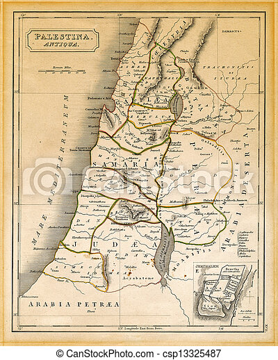 Palesztina Terkep Osi Nyomtatott 1845 Krisztus Helyes Oreg