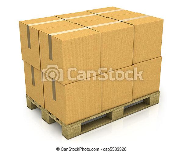 Hay cajas de cartón en un palillo - csp5533326