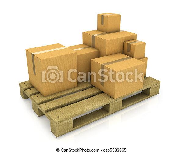 Hay cajas de cartones de diferentes tamaños en papel de madera - csp5533365
