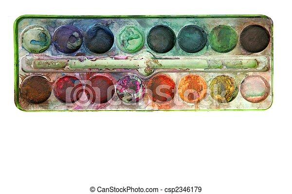 paleta, usado, coloridos, sobre, aquarela, branca - csp2346179