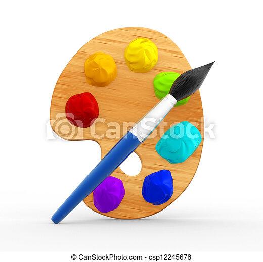 Palette and brush - csp12245678