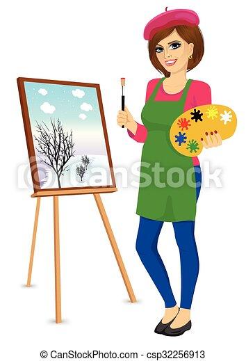 palette femme artiste brosse tenue peintre debout palette chevalet femme artiste. Black Bedroom Furniture Sets. Home Design Ideas
